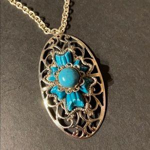 Vintage Southwestern Silver & Turquoise Pendant